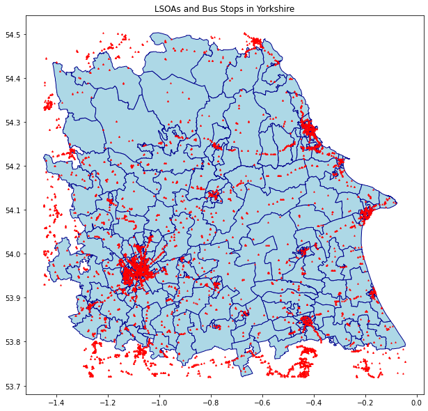 Map - LSOAs and Bus Stops in Yorkshire